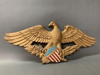 Gilt and Polychrome Foam Mantling Eagle Display