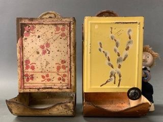 Pair of Early Tin Match Safes