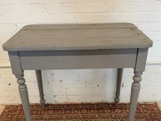 Old Overpaint Grey Turned leg Table