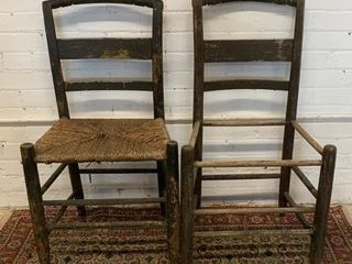 Pair of Early Rush Seat Side Chairs
