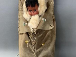 Native Beaded leather Wooden Papoose