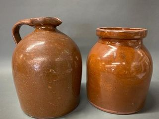 Pair of Redware Pottery Pieces Crock Jug
