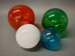 Group of 4 Coloured Glass Fishing Floats