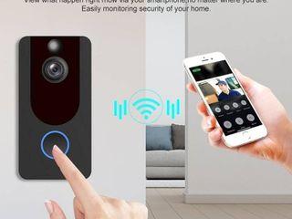 WiFi Wireless Smart Doorbell Visual Video Camera 1080p Intercom Remote Monitoring Alarm Intelligent Security Camera   Black