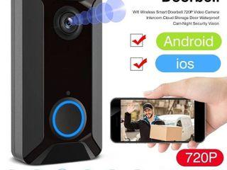 Wifi Wireless Smart Doorbell 720P Video Camera Intercom Cloud Storage Waterproof Cam Security Doorbell   Black