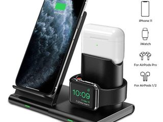 3 in 1 Wireless Charger Apple Watch and AirPods Charging Station iWatch   EarPod Charging Dock 7 5W Fast Charging   Black