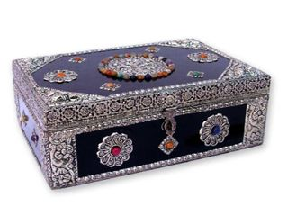 Handmade Mango Wood and Nickel plated Brass  Antique Flair  Jewelry Box  India  Retail 92 49