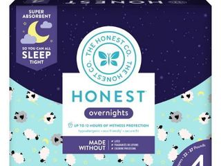 The Honest Company Overnight Diapers Sleepy Sheep   Size 4   54 Pack
