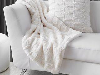 lauren Taylor Monroe Textured Faux Fur Throw Blanket