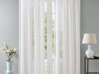 Madison Park Iris Embroidered Diamond Sheer Window Curtains   Set of 2