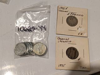 10  1943 Steel Wartime Pennies And Two German Pfennings