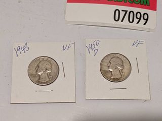 1948 And 1950 Silver D Quarters