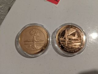 1942 The Battle Of Midway   1945 Atomic Bomb Franklin Mint Bronze Proof Commemorative Medals