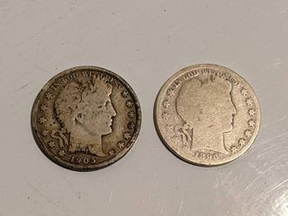 1905 S Barber Half Dollar   1896 P Barber Half Dollar
