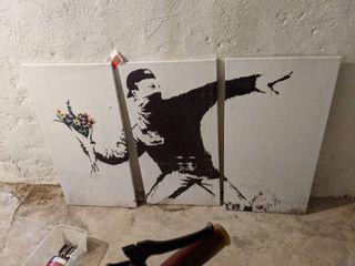 Three Panel Canvas Banksy Print