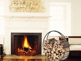 Indoor Outdoor Firewood Rack 24 Inches Small Brackets Decorative Fireside log holders