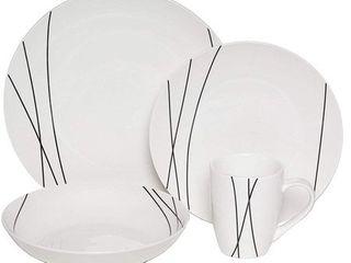Melange Coupe 32 Piece Porcelain Dinner Set  Black lines    Dinner Plate  Salad Plate  Soup Bowl   Mug  8 Each  Retail 99 99