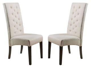 Tall back Natural Fabric Dining Chair  Set of 2  by Christopher Knight Home Retail 196 49