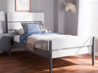 Taylor and olive white oak twin bed   says headboard  footboard and bed slat included