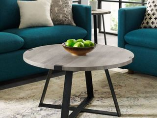 30  Metal Wrap Round Coffee Table   Grey Wash with Black Base
