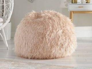 le pouf faux fur bean bag light pink