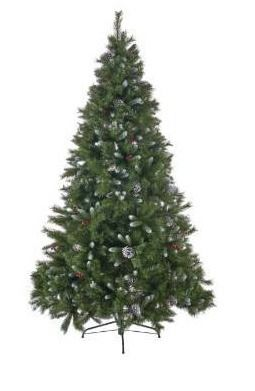 Noble house 7 5 ft unlit artificial Christmas tree with frosted pine cones and berries