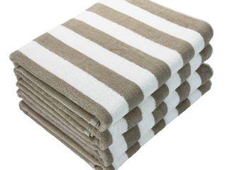 Bulk 4 Pack of Cabana Beach Towels   Extra large Size   30  x 70    Tan Stripes   Ring Spun 100  Cotton