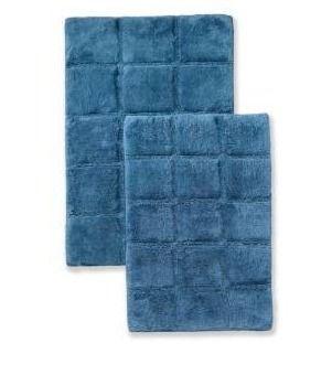 Miranda Haus cotton checkers 2 piece bath rug  sapphire