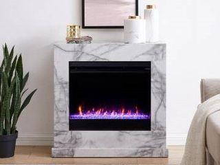 Dejon Contemporary White Stone Electric Fireplace Retail 409 99