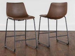 Carbon loft Prusiner Faux leather Counter Stool  Set of 2  Retail 173 49