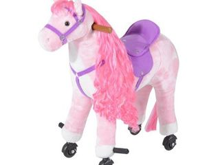 Plush Walking Horse Ride On Toy with Wheels and Realistic Sounds for Girls Retail 119 98  needs cleaned and does not have handles
