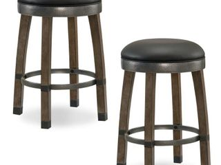 Wood Cask Stave Counter height Stool with Faux leather Seat  Set of 2  by KD Furnishings Retail 184 49