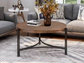 Carbon loft Quarshie Round Coffee Table Industrial Style with Table Metal Frame Retail 258 49