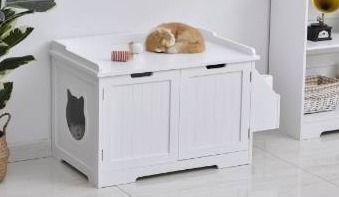 Pawhut wooden cat litter box enclosure