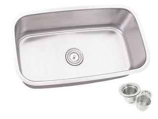 30 inch Single Bowl Undermount Stainless Steel Kitchen Sink Basket Strainer Retail 91 49