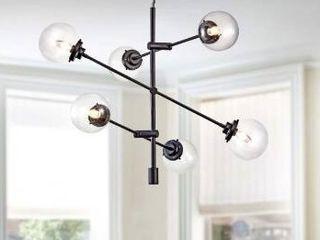 Irene 6 light Matte Black Sputnik linear Glass Chandelier Retail 166 99