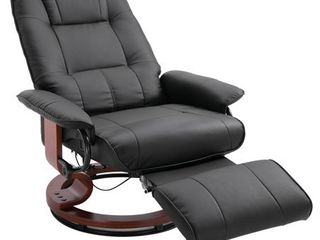 Faux leather Adjustable Manual Traditional Swivel Base Recliner Chair with Footrest   Black Retail 305 99