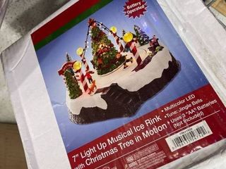 Kurt Adler 7 Inch Battery Operated Musical lED Ice Rink with Tree Table Piece