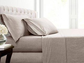 Asher Home Heathered Cotton Blend T Shirt Jersey Bed Sheet Set
