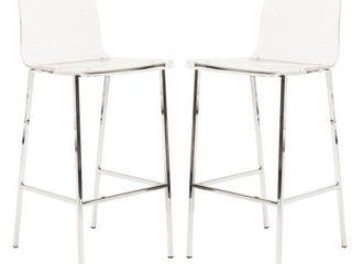 Pure Decor Clear Acrylic Counter Stool Pair  Chrome Retail 336 99