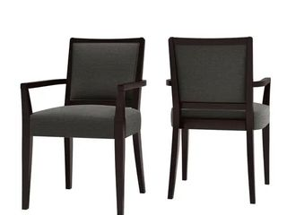 Copper Grove Olin Upholstered Espresso Finish Arm Dining Chairs  Set of 2