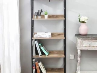 Wood and Metal 63in  H 5 Tier Etagere Shelving Unit