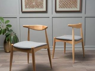 Francie Mid century Dining Chairs  Set of 2  by Christopher Knight Home   Grey with Oak Finish