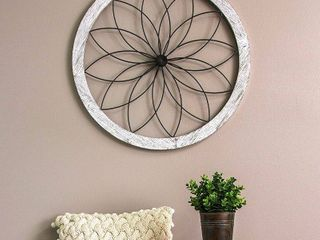 Stratton Home Decor Flower Metal and Wood Art Deco Wall Decor  wood is split