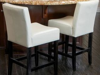 lopez 26 inch Ivory leather Counter Stools  Set of 2  by Christopher Knight Home  see damage
