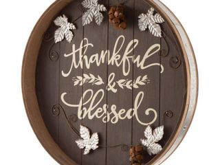 Glitzhome 17 83  Fall Wooden Tray Hanging Decor