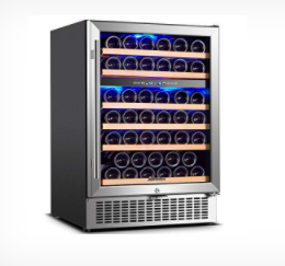 Aobosi 24in Dual Zone Wine Cooler 46 Bottle Freestanding and Built in Wine Refrigerator Stainless Steel