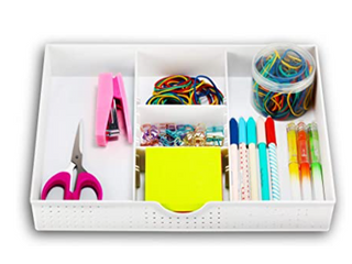 CAXXA 3 SlOT DRAWER ORGANIZER  WITH TWO ADJUSTABlE DIVIDERS  COlOR WHITE
