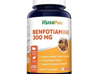 Benfotiamine 300mg 180 Veggie Caps   Non GMO Vegan   Gluten Free  Supports Healthy Blood Sugar levels in Normal Range