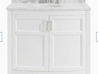Allen Roth Moravia 36  White Single Sink Bathroom Vanity Natural Carrara Marble
